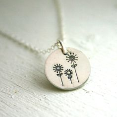 Hand stamped jewelry - sterling silver necklace - 3 flowers.