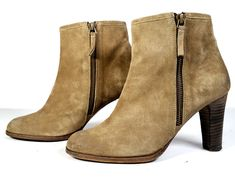 $540 NDC Boots Womens 37.5 Taupe Suede Ankle Boot Double Zip Snyder Rabat SZ 7.5 #NDC #AnkleBoots