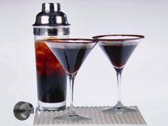 Chocolate-Espresso Martini from FoodNetwork.com      4 ounces semisweet chocolate, finely chopped      2/3 cup brewed espresso, chilled      2/3 cup coffee liqueur, such as Kahlua      2/3 cup vanilla-flavored vodka      Ice      Special equipment: cocktail shaker
