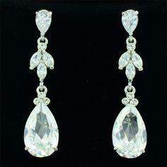 Clear Rhinestone Crystals Wonderful Earring for Bridal Wedding Dangle Drop 21410 #DropDangle