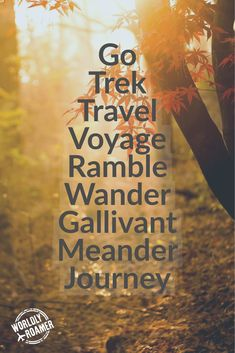 Go Trek Travel Voyage Ramble Wander Gallivant Meander Journey - by @worldlyroamer
