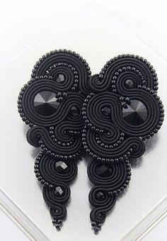 Funky Jewelry, Black Jewelry, Black Earrings, Pendant Earrings, Beaded Earrings, Boho Jewelry, Statement Earrings, Earrings Handmade, Bridal Jewelry
