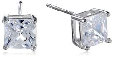 Platinum-Plated Sterling Silver Princess-Cut Cubic Zirconia (2.34 cttw) Stud Earrings # Differen't colors available $10.00