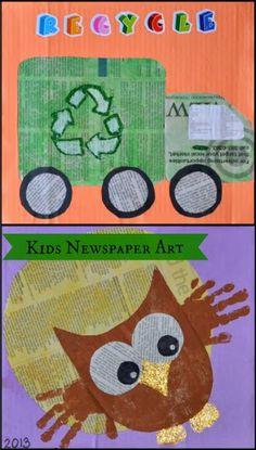 Create Newspaper Art - #kidsart #recycledcrafts