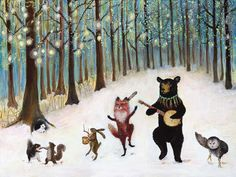 Forest Festivities- 9x12 giclee print, forest animals, dancing animals, snow, winter, christmas, holiday. $30,00, via Etsy.