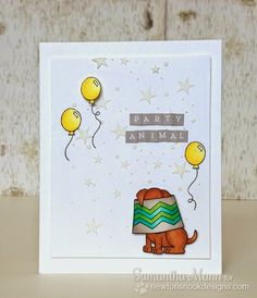 Newton's Nook Designs Anniversary Blog Hop - Party Animal Birthday card by Samantha Mann using Around the house, Canine Christmas and Winston's Birthday Stamp sets