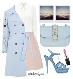 """Dancing on my own"" by karineminzonwilson ❤ liked on Polyvore featuring Eastex, Alexander McQueen, VIVETTA, Valentino, Yves Saint Laurent, MAC Cosmetics, Pink, Blue, pastel and trenchcoat"