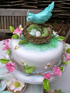 Bird & Blossom Easter cake & cupcakes by nice icing, via Flickr