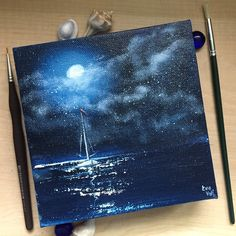 """""""Has The Moon Lost Her Memory?"""" original oil on canvas 6x6"""", perfect gift size. This original nocturnal seascape oil painting captures the beauty of the night ocean in the silver moonlight."""