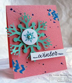 Curtain Call Inspiration Challenge: Sweet Snowflakes. By design team member Tenia Nelson using stamps from Uniko Studio.