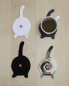 cat-butt-coasters-great gag gift for my cat loving relatives but also a great fund raiser for animal shelters! Made of cotton worsted yarn and acrylic felt center so they absorb moisture and counter is left dry.