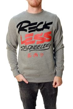 Young & Reckless Men's Scrawl Stack Crew Neck Pullover Fleece Sweater