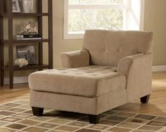 Encore Tufted Chaise Lounge in Grain Fabric