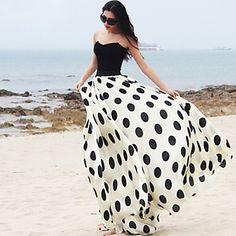 BALI Fashion Silm Swing Polka Dots Bandeau Contrast Color Beach Maxi Dress