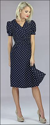 Ariana [MDC007] - $59.99 : Mikarose Fashion, Reinventing Modest Fashion Navy Blue Polka Dot Dress