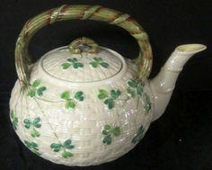 Antique-Belleek-Shamrock-Irish-Teapot-2nd-Black-Mark-1891-1926