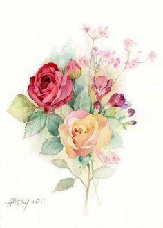 프랑스에서 활동중인 Anne Marie Patry의 장미.수국.튤립.팬지.... 넘 아름다운 수채화 일러스트 Watercolor Rose, Watercolor Cards, Watercolor Background, Watercolor Paintings, Botanical Art, Botanical Illustration, Watercolor Illustration, Colorful Drawings, Art Drawings