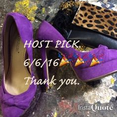 1st HOST PICK 🎉🎉🎉🎉🎉🎉💜💜💜purple suede heels Worn twice in EUC   Beautiful purple suede platform heels. Done by Shoe Dazzle pretty accent on toe. 5&1/2 inch heel but platform makes this comfortable and easy to walk in. Color is wonderful. Love💜💜 Shoe Dazzle Shoes Heels