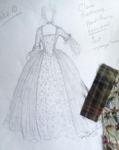 sketch of Claire's dress for The Gathering via terrydresbach.com