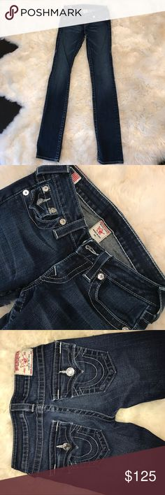 True Religion dark blue jeans Worn once, too small for me, good shape True Religion Jeans Straight Leg