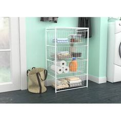 4 Drawer Storage Chest Getting organized is easy with the ClosetMaid Multifunctional Drawer Organizer Kit! This white, wir 5 Drawer Storage, Rolling Storage, Wire Storage, Pantry Storage, Drawer Organisers, Drawer Handles, Extra Storage, Storage Chest, Basket Storage
