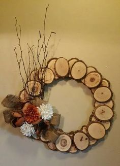 This rustic wood wreath will work great for an cabin decor. Made of real wood slices, sticks, and fall and wood flowers. Complete with a burlap bow. Thanksgiving Wreaths, Autumn Wreaths, Wreath Fall, Christmas Wreaths, Christmas Decorations, Wreath Crafts, Tree Crafts, Diy Wreath, Wood Crafts