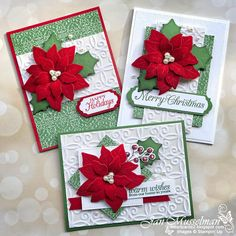 i♥Cards2: Class In The Mail Poinsettia Cards, Christmas Poinsettia, Merry Christmas To All, Stampin Up Christmas, Christmas Holidays, Homemade Christmas Cards, Christmas Cards To Make, Xmas Cards, Homemade Cards
