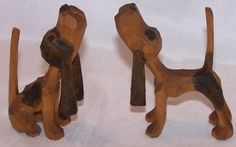 Howling Hunting Hound Dogs, Hand Carved Wood, Folk Art