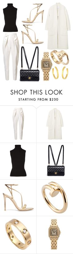 """""""Gold"""" by lucya-knight ❤ liked on Polyvore featuring Delpozo, MANGO, Michael Kors, Chanel, Gianvito Rossi and Cartier"""