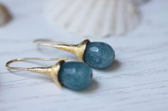 Sky Blue Aqua Quartz Gemstone Faceted Briolette 24K by nonnasoul, $49.00