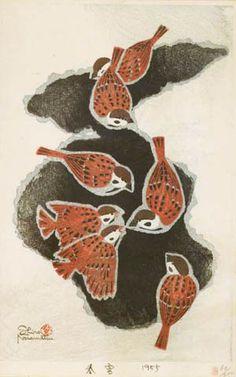 春 雪 笠松紫浪 1955