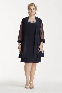 Jersey Plus Size Short Jacket Mother of Bride/Groom Dress with Illusion Panel Jacket - Navy (Blue), 16W