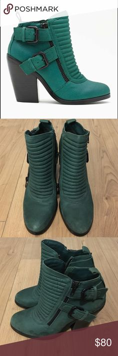 """Nasty Gal Shoe Cult Outlaw Buckled Boot Few water stains, barely worn. No box. Shoe Cult by Nasty Gal. Totally boss textured emerald leather ankle boots featuring puffy quilted detailing and double buckled straps. Side zip closure, fully lined. Stacked wooden heel.   *Genuine Leather  *Shoe Height: 7.5""""  *Heel Height: 4""""  *Imported Nasty Gal Shoes Heeled Boots"""
