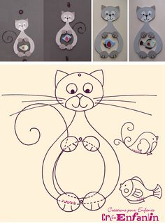 Motif de chat glouton ayant mangé un oiseau ou un poisson - tutoriel et gabarits                                                                                                                                                                                 Plus