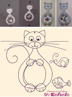 Motif de chat glouton ayant mangé un oiseau ou un poisson - tutoriel et gabarits