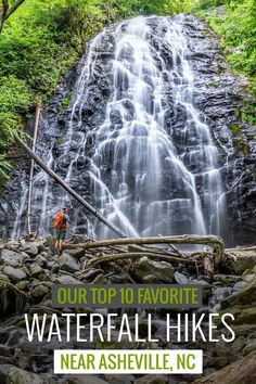 Waterfalls near Asheville: our top 10 favorite western North Carolina waterfall hikes Hike to the most popular, most beautiful and most scenic waterfalls near Asheville on our top ten favorite hikes in western NC. Nc Waterfalls, North Carolina Waterfalls, Oh The Places You'll Go, Places To Travel, Places To Visit, Travel Destinations, Monteverde, Camping And Hiking, Hiking Trails