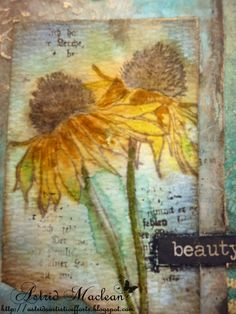 Astrid's Artistic Efforts: Altered file folder part 1 Watercolor Cards, Watercolor Flowers, Watercolor Ideas, Flower Stamp, Flower Cards, Tim Holtz Flower Garden Cards, Vintage Paper Crafts, Tim Holtz Stamps, Mixed Media Cards