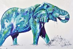 Watertime (h) 90cm x (w) 120cm  - Abstract Art elephant Oil Painting by Aidan Weichard - Australia - Elephant art - Elephant painting