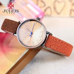 01a0edd6b Top Julius Lady Women s Watch Retro Simple Fashion Hours Gradient Dress  Bracelet Leather School Girl Birthday Gift Box 855