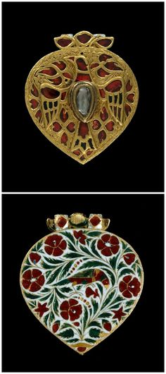 Pendant with eagle. Made of gold and set with with cut diamond, rubies and emeralds. Reverse enamelled with floral spray. Culture/period: Mughal dynasty 17thC-18thC. India.