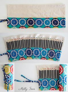 Sewing Ideas For Baby Step 3 - Sew a Pencil Roll - DIY Crayon Roll - Tutorial by Melly Sews - Sew a DIY pencil roll, which can also be made into a crayon roll or hold knitting needles or brushes - so many possibilities! Pencil Case Pattern, Pencil Case Tutorial, Diy Pencil Case, Easy Sewing Projects, Sewing Projects For Beginners, Sewing Tutorials, Sewing Crafts, Sewing Kits, Sewing Ideas