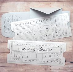Vintage Ticket Invitation with Insert Card - 2 Tickets for Elegant Theater, Glamorous Movie Premiere, Travel or Train Depot Inspired Wedding