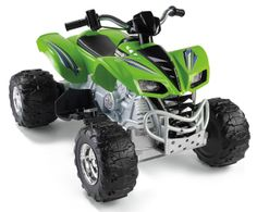 Kawasaki Power Wheels KFX is from 12v kids riding toys, is sleek, stylish and gleaming. It gives an effect of a real ATV. The Fisher Price Green Kawasaki KFX is added with monster traction effect for driving on wet or dry grass, hard or rough surface, mud and grooves. Check http://bestkidsrideontoys.com