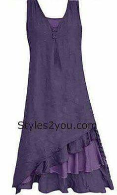 Fun layered ruffle detail at the bottom Pretty shade of purple