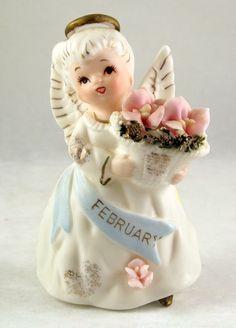 Vintage Lefton February Angel of the Month porcelain bisque figurine - Lefton Figurines