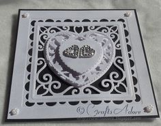 "Wedding Congratulations Card - ""Love Hearts"" Handmade Elegant Wedding Anniversary Die Cut Monochrome Love Heart Card Tonic Affections Dies"