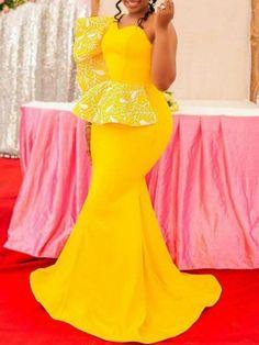 One-Shoulder Floor-Length High Elasticity Mermaid Dress African Bridesmaid Dresses, Latest African Fashion Dresses, African Dresses For Women, African Print Fashion, African Attire, Party Dresses For Women, Lace Gown Styles, African Lace Styles, Classy Dress