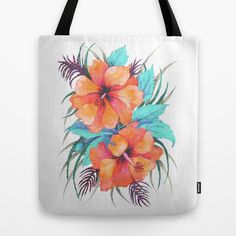 TROPICAL FLOWER {orange hibiscus}  Tote Bag by Schatzi Brown
