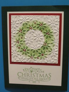 Embossed Christmas Card with Stenciled Wreath - SU embossing folder Homemade Christmas Cards, Christmas Cards To Make, Xmas Cards, Homemade Cards, Handmade Christmas, Christmas Tag, Scrapbooking, Scrapbook Cards, Embossed Cards