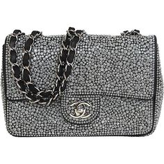 Pre-owned CHANEL 2014 Dark Grey Crystal Mini Classic Flap Evening Bag ($7,300) ❤ liked on Polyvore featuring bags, handbags, purses, handbags and purses, crossbody purse, pre owned handbags, mini crossbody, chanel messenger bag and chanel purses